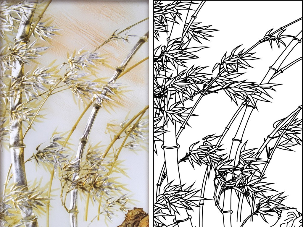 cdr)君子之风竹报平安竹子艺术玻璃