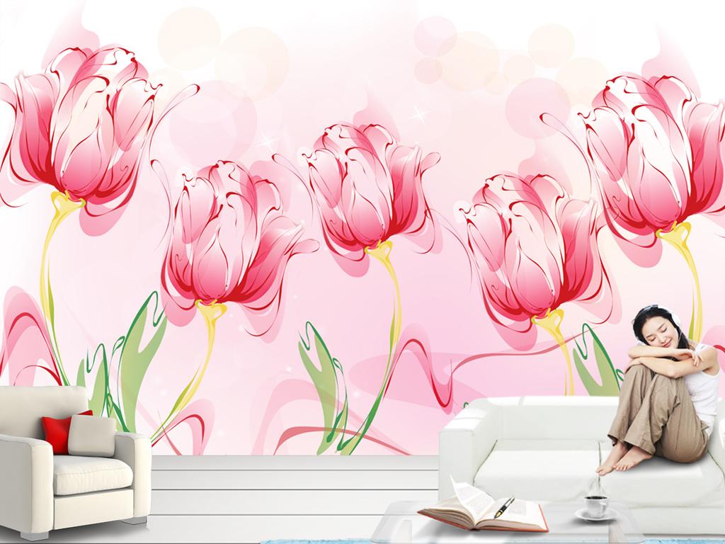 粉色郁金香手绘简约背景墙壁画