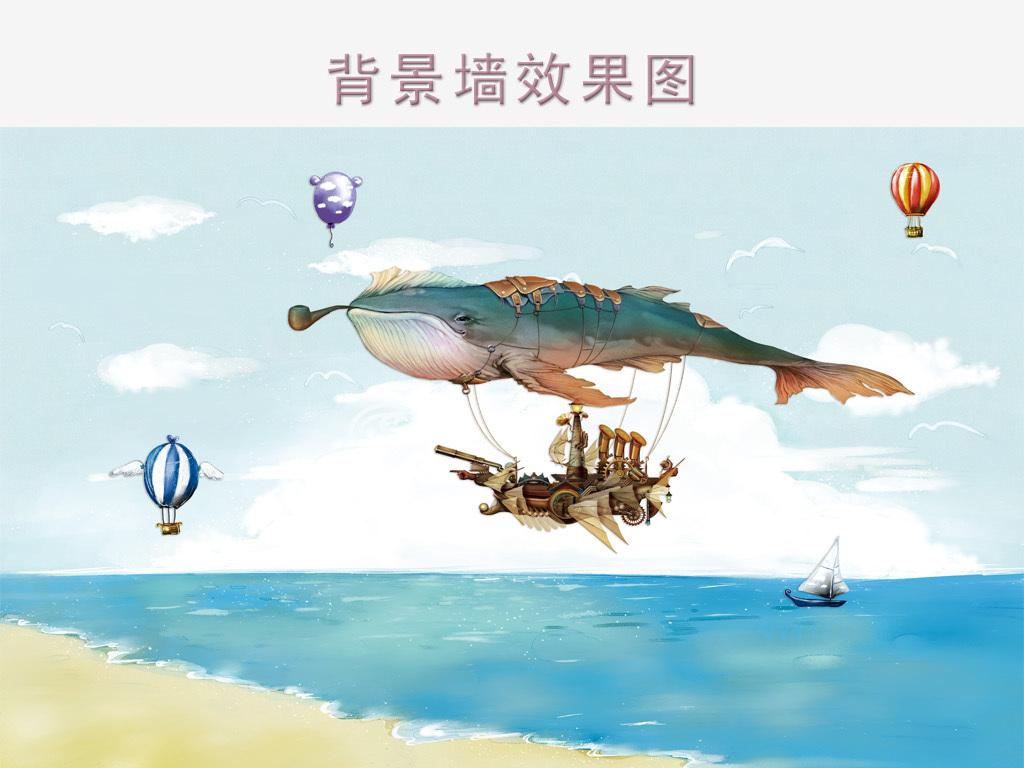 卡通手绘蓝鲸儿童房背景图