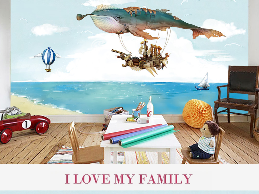 背景墙 电视背景墙 地中海背景墙 > 卡通手绘蓝鲸儿童房背景图  素材