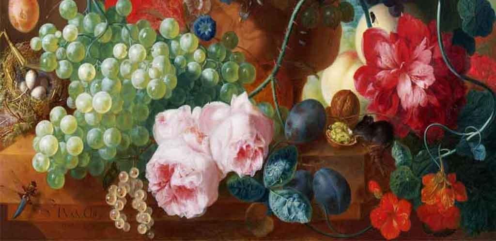 玄关花卉古典油画静物效果图 14973076 山水花鸟玄关图效果图