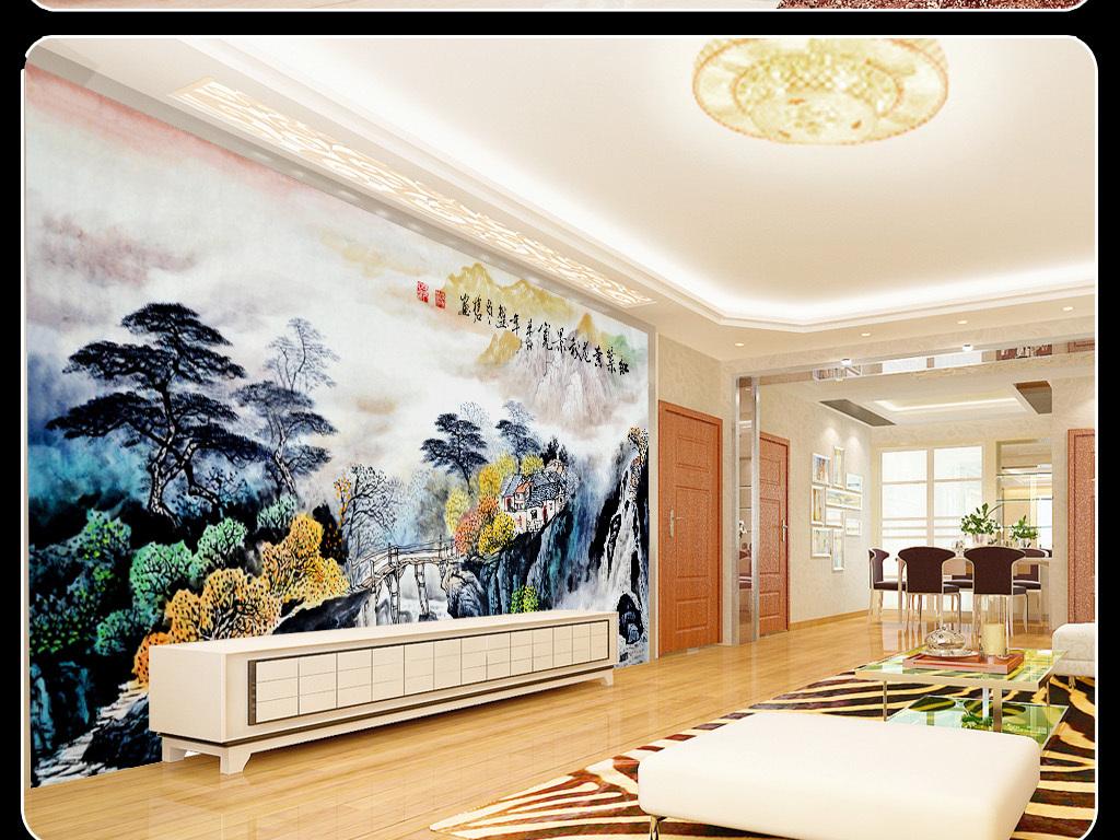 彩墨山水画红叶黄花秋景电视背景墙效果图 14973848 中式电视背景墙