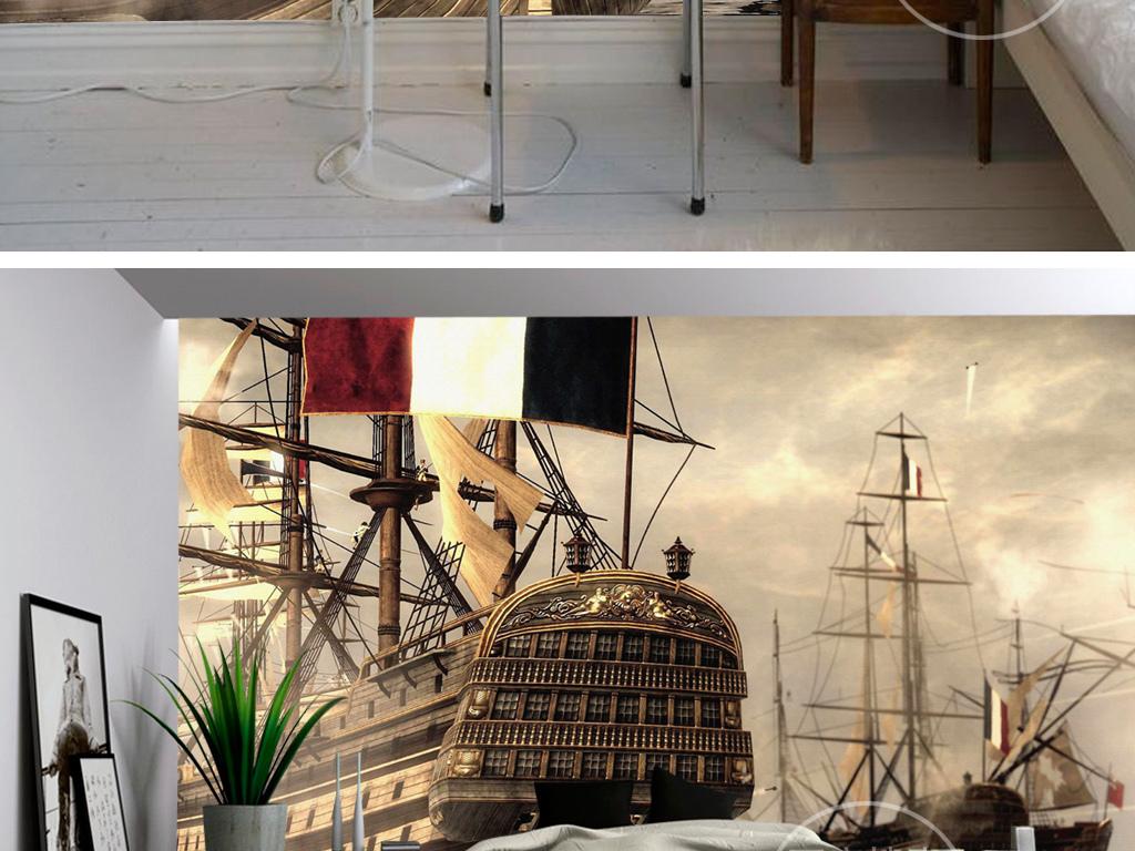 欧式复古油画海盗船航海壁画背景墙
