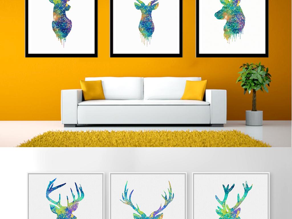 抽象北欧麋鹿鹿头装饰画图片