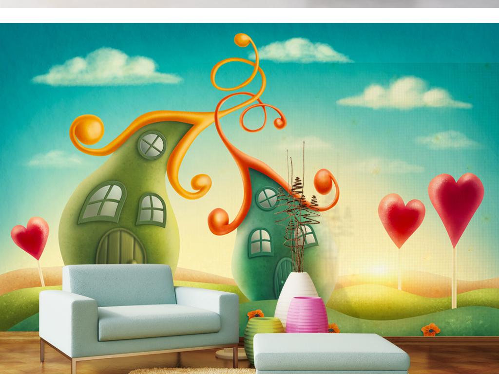 手绘卡通爱心房子背景墙装饰画