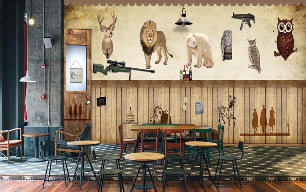 欧美木板枪酒吧餐厅复古背景墙