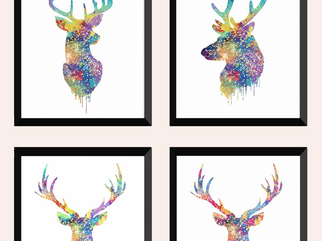 背景墙|装饰画 无框画 动物图案无框画 > 北欧风格清新麋鹿三联沙发画