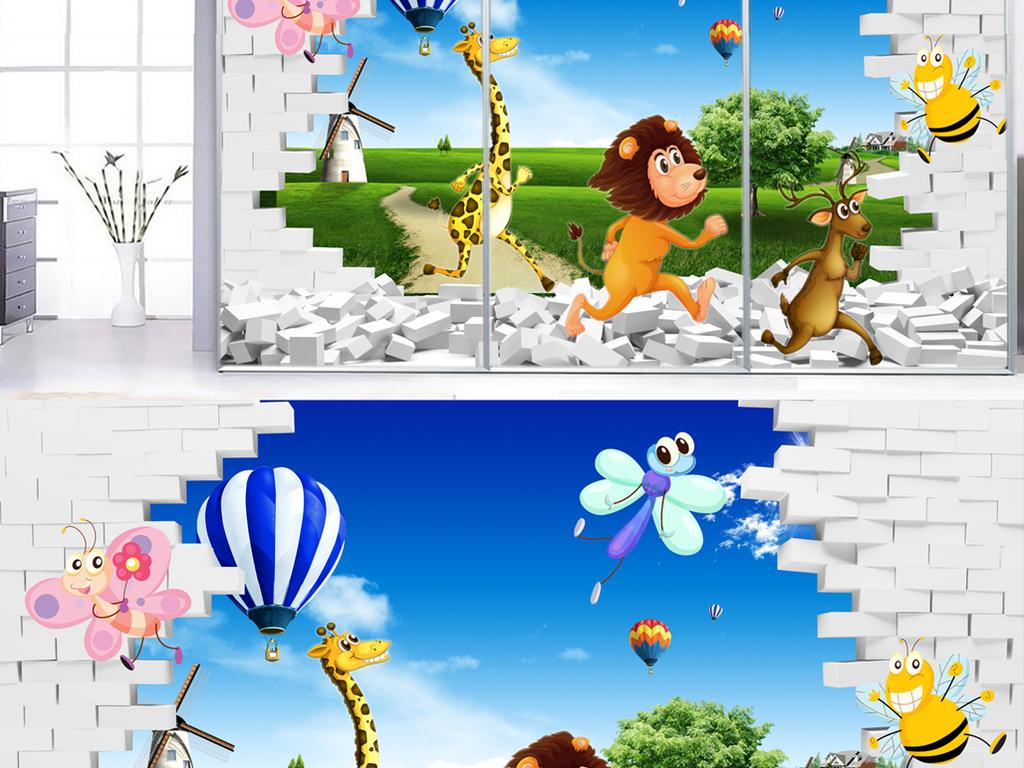 立体风景动物世界背景墙图片