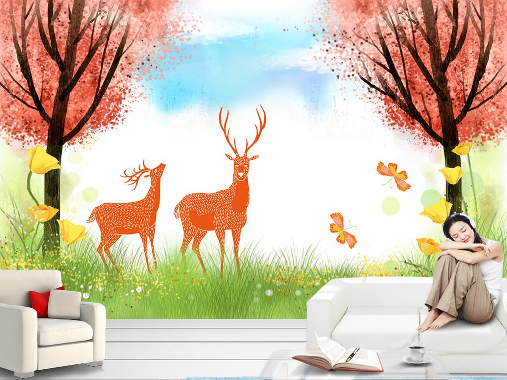 唯美麋鹿手绘麋鹿手绘背景壁画