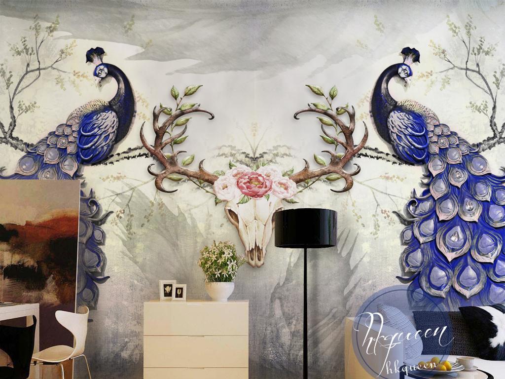 头福禄寿禄步步高升孔雀鹿手绘壁纸壁画墙纸墙贴蓝色孔雀领先简洁大气