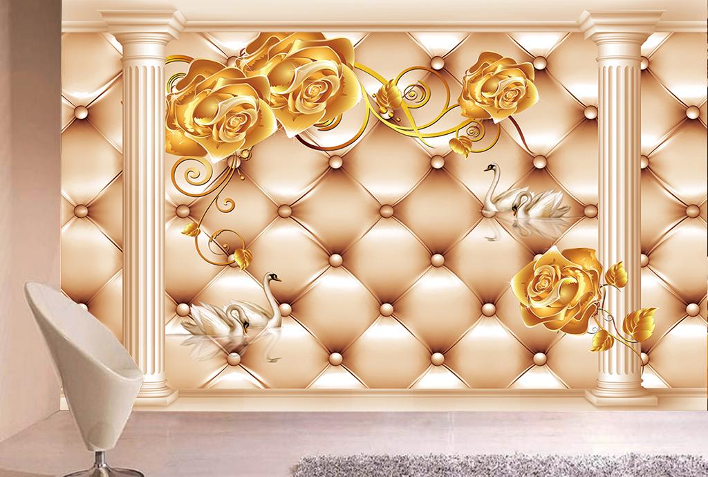 欧式软包罗马柱金色玫瑰花天鹅电视背景墙图片