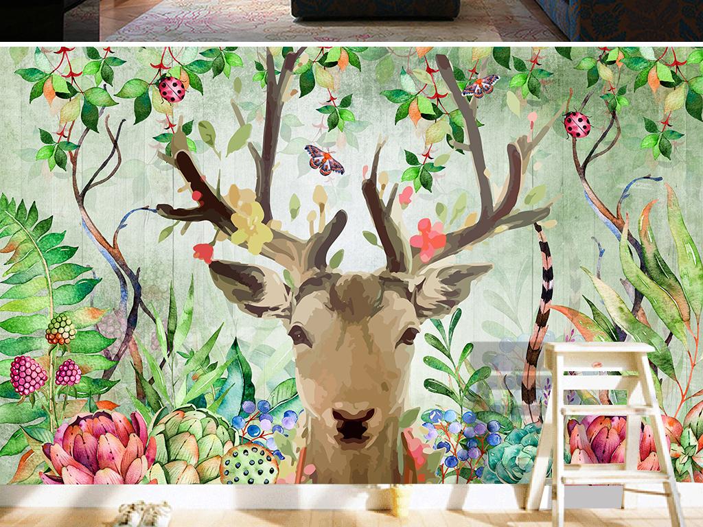 植物绿色水墨电视背景墙图片玻璃电视背景墙图片客厅电视背景墙3d电视