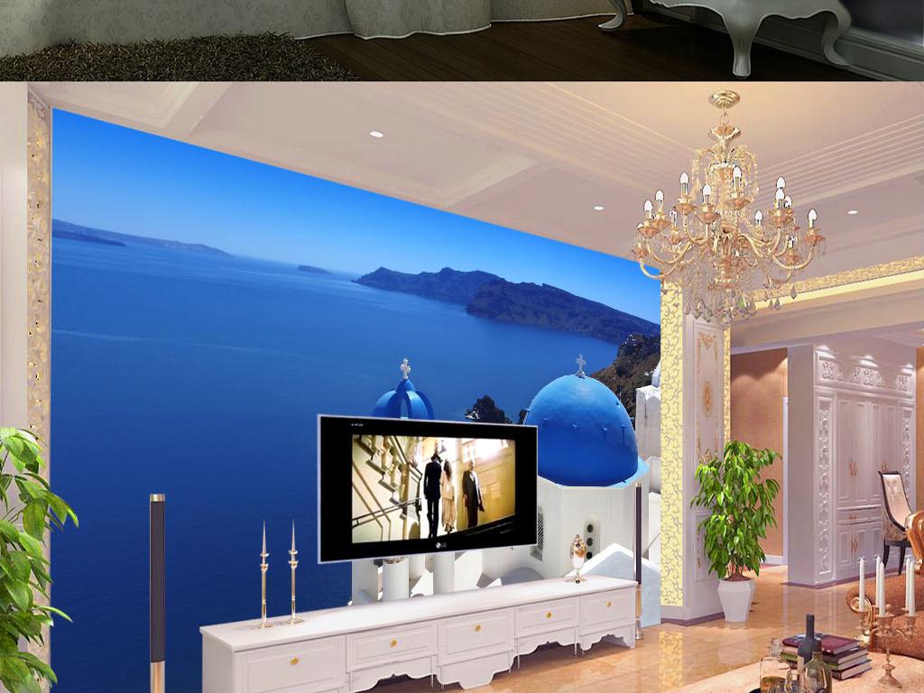 高清唯美大气蔚蓝海岸地中海壁画背景墙图片设计素材图片