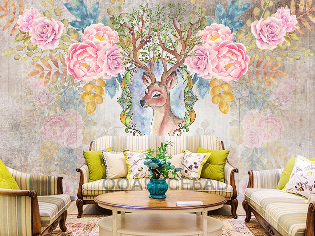 水彩画手绘梅花鹿条纹太阳花牡丹花梦幻月季花电视背景墙图片玻璃电视
