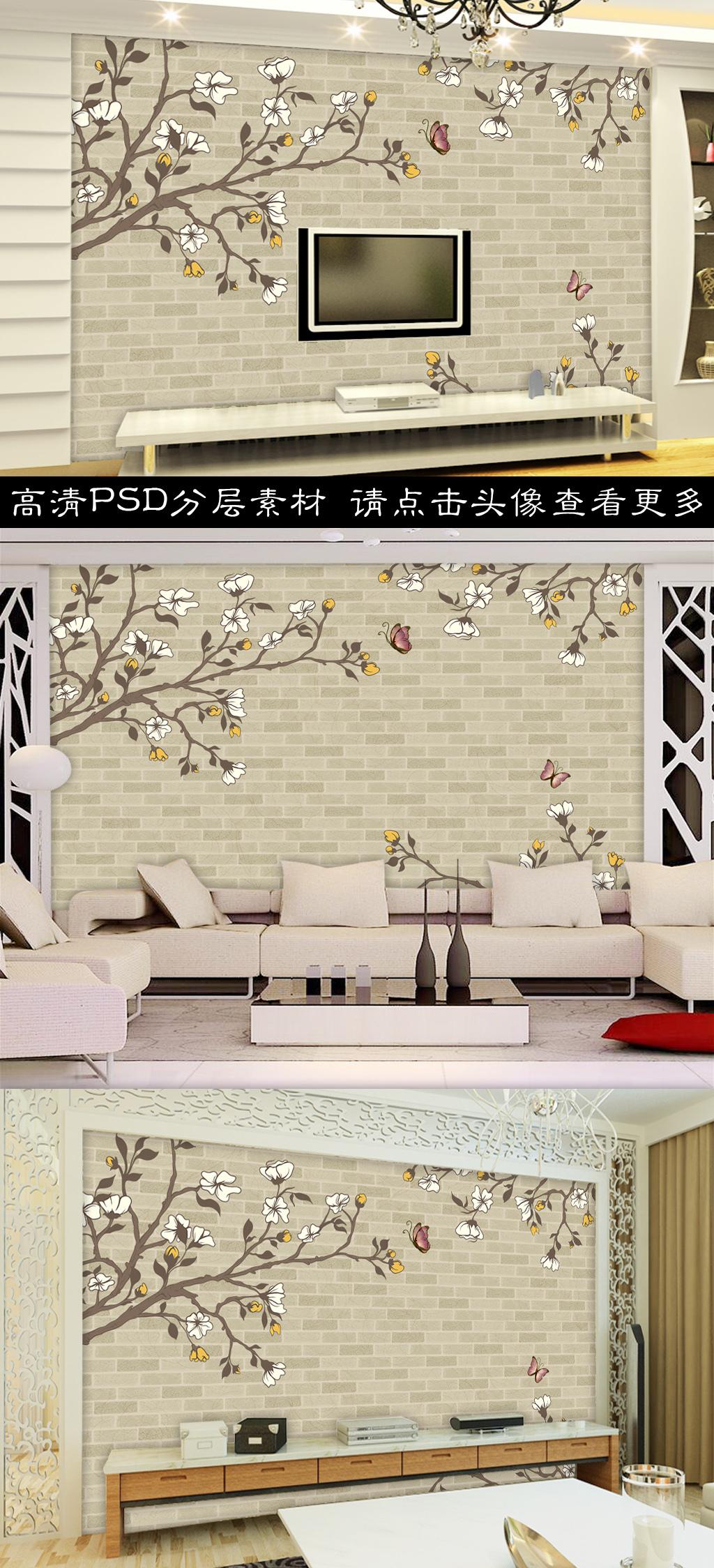 高清砖墙手绘花卉背景墙