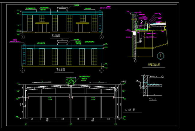 全套厂房cad框架结构图