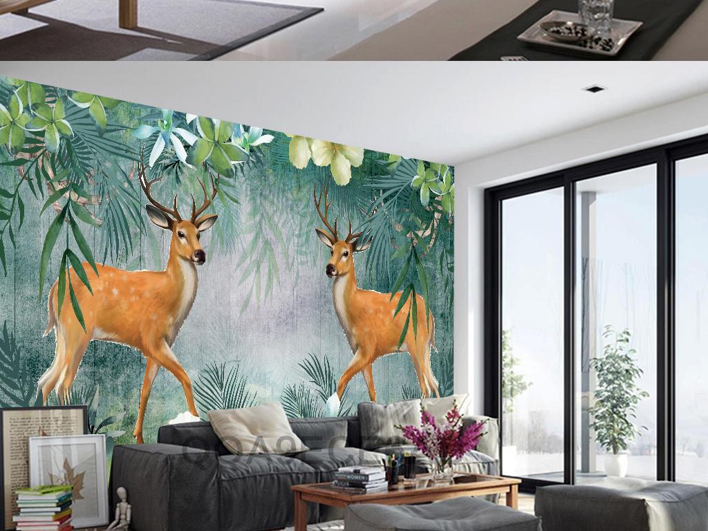 森系手绘图壁画