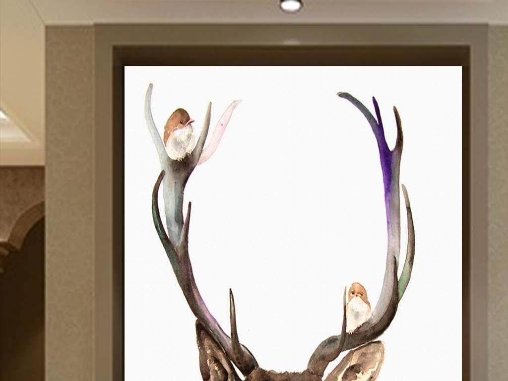 唯美麋鹿梅花鹿手绘水彩玄关背景装饰画
