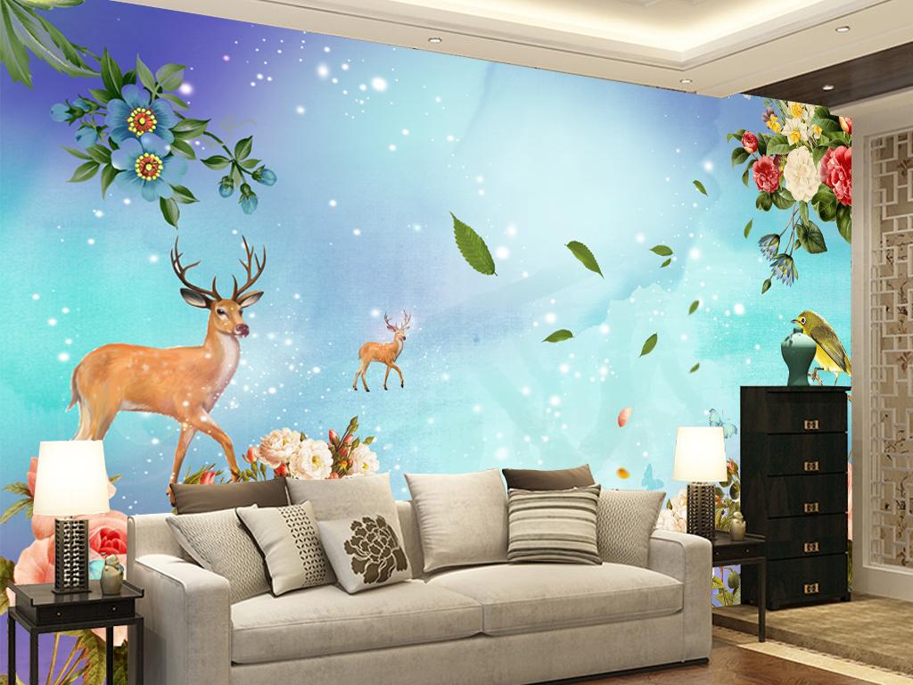 手绘花卉鹿清新背景墙