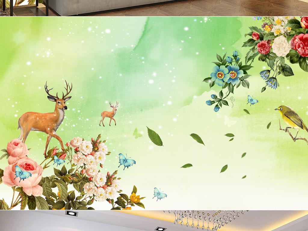 绿色手绘花卉鹿清新背景墙