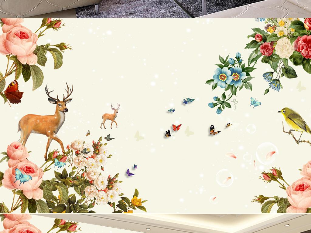 清新手绘花卉鹿背景墙