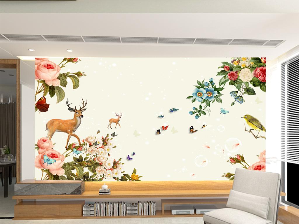 清新手绘花卉鹿背景墙(图片编号:14983973)_手绘电视