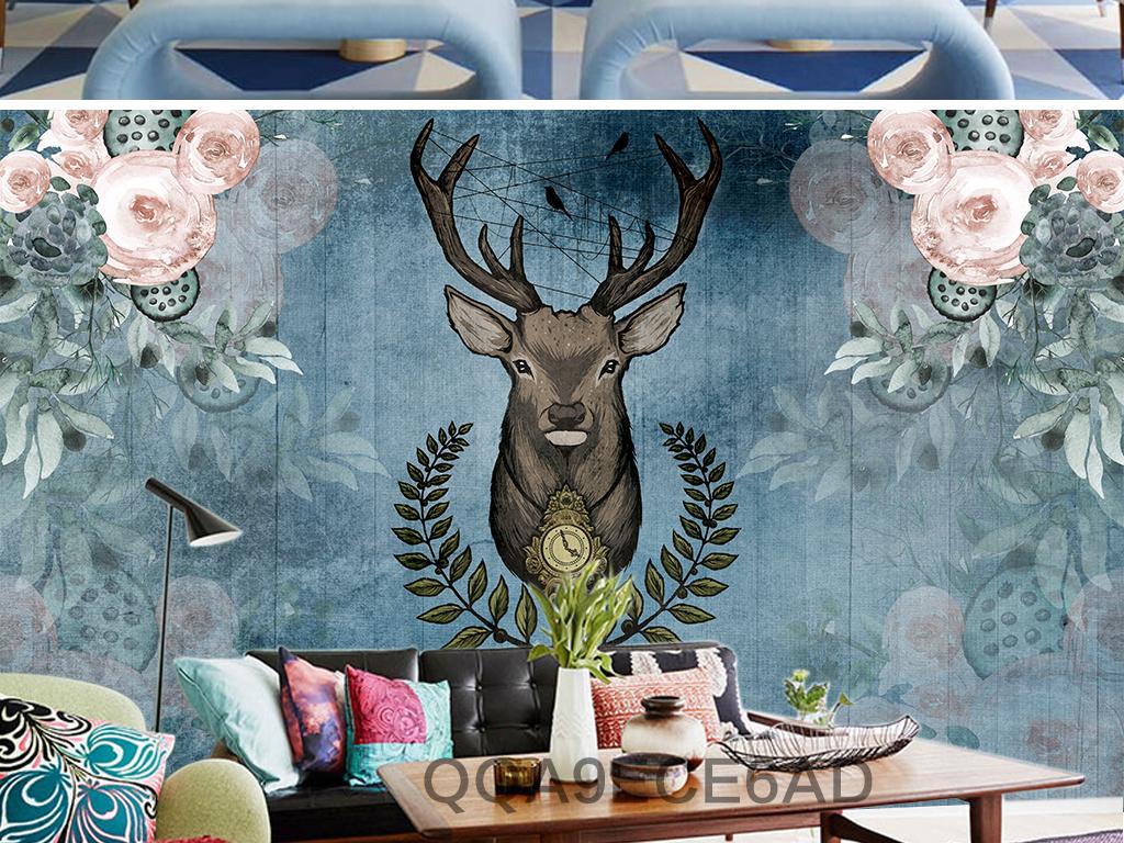 美式复古森系田园麋鹿手绘水彩花卉背景墙