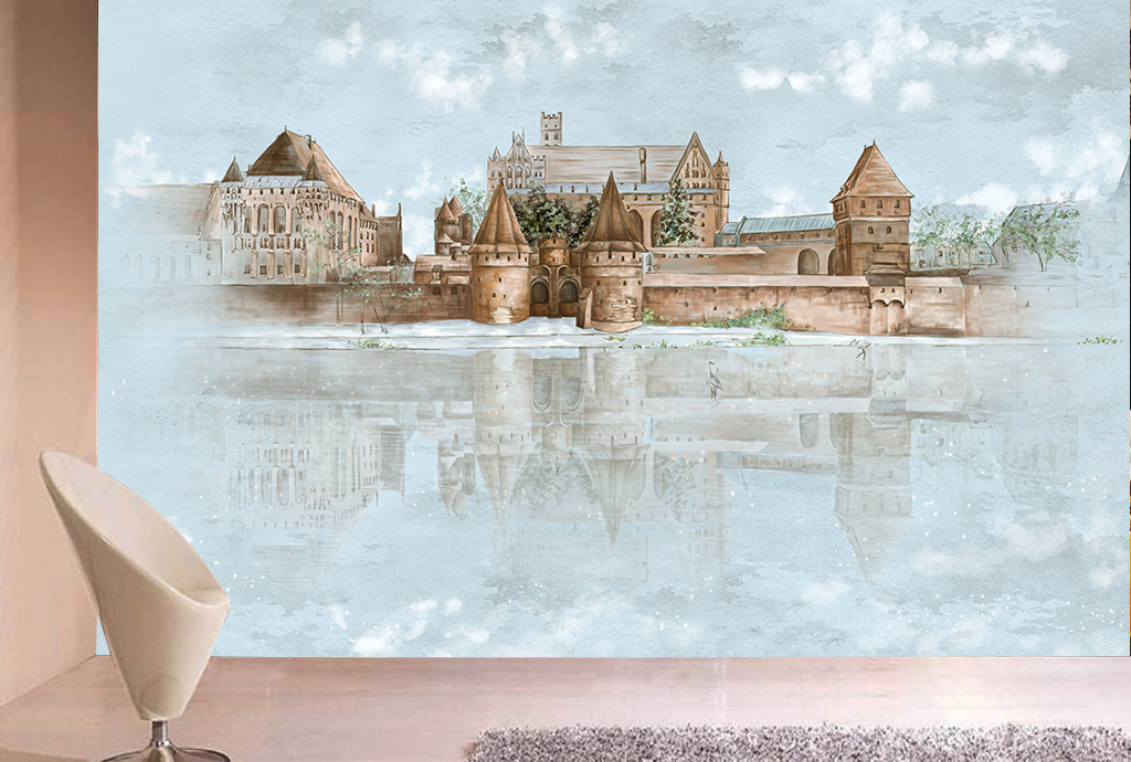 手绘城堡水倒影电视背景墙