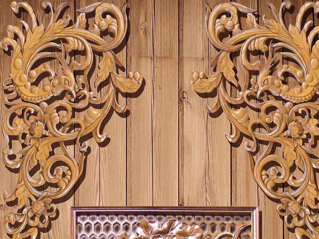 木雕浮雕荷花中式玄关