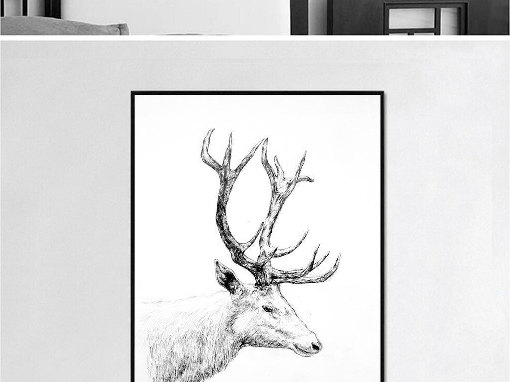 北欧手绘动物装饰画