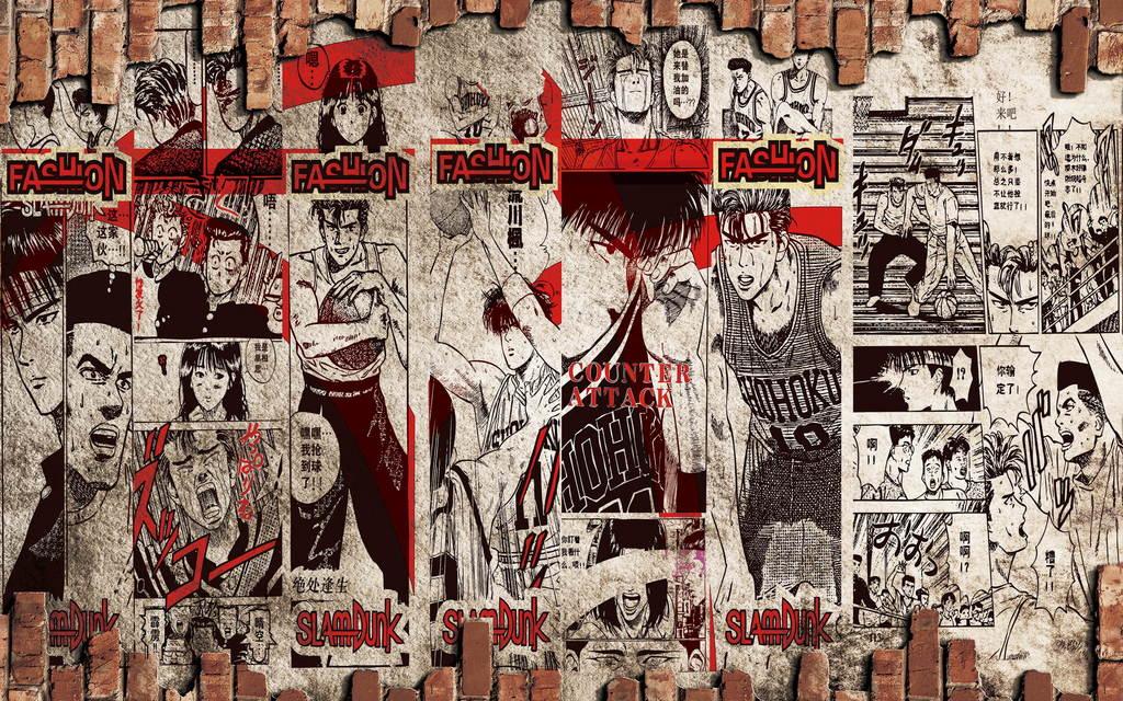 复古文艺灌篮高手卡通手绘墙砖背景墙壁画