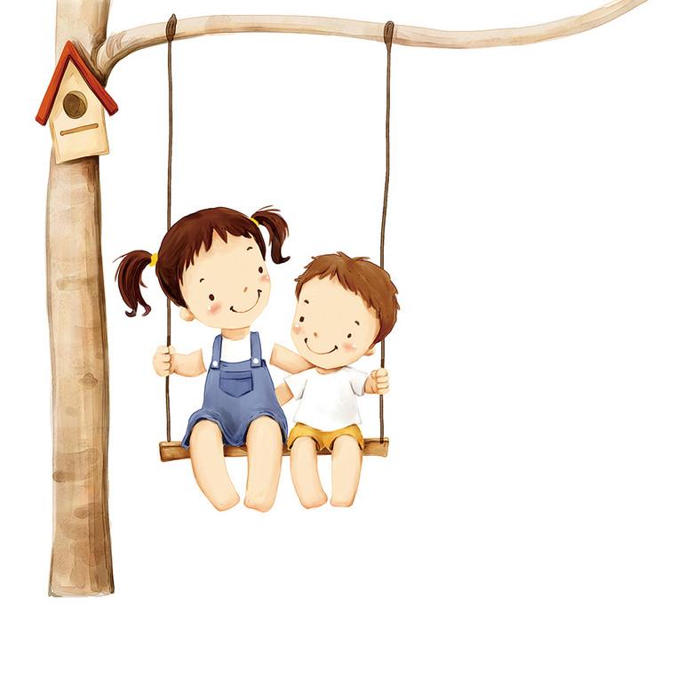 可爱小男孩和小女孩荡秋千图片