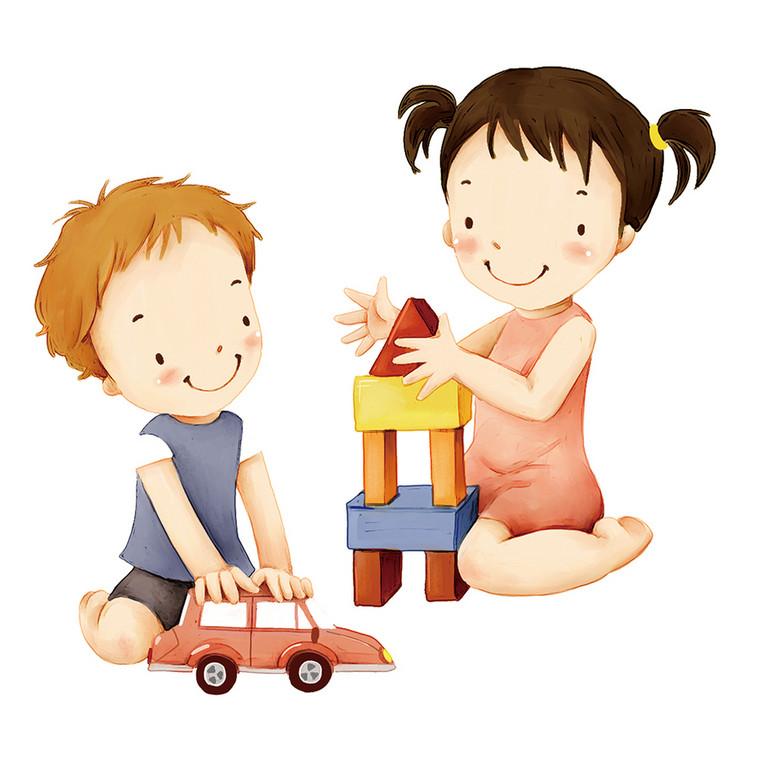 可爱小男孩和小女孩搭积木