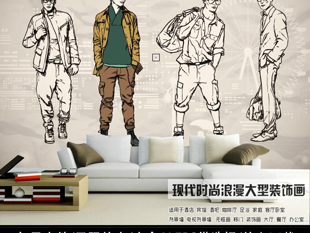 欧式手绘男模特服装店背景墙橱窗壁画壁纸