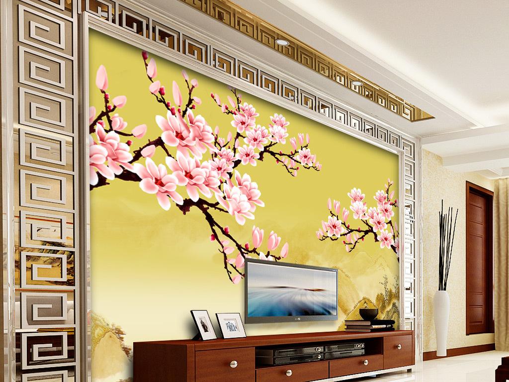 手绘中式花卉风格电视背景墙壁画003