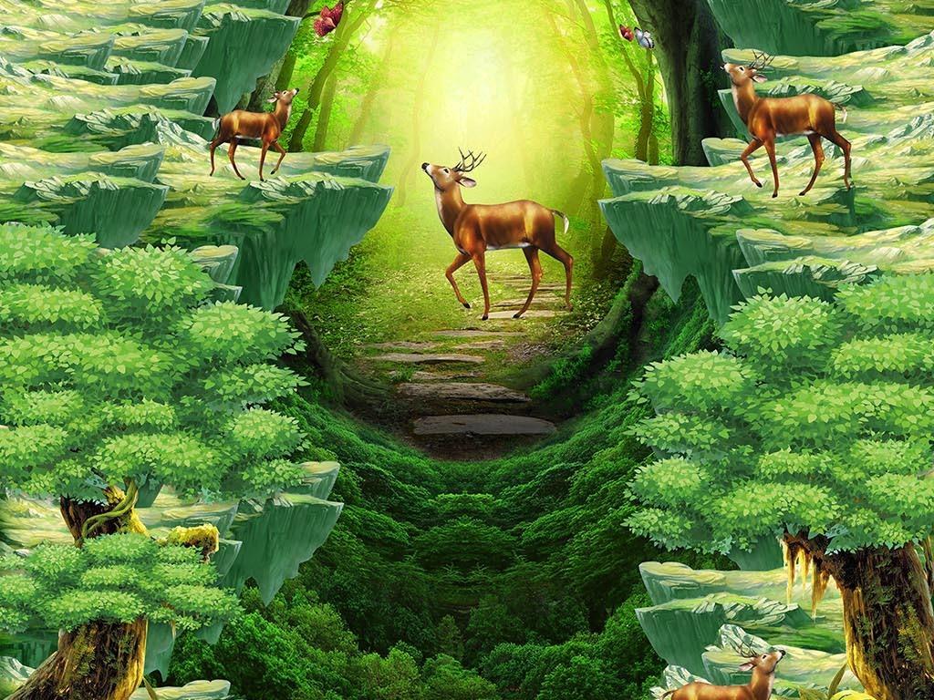 动物世界大森林3d立体画地板地画