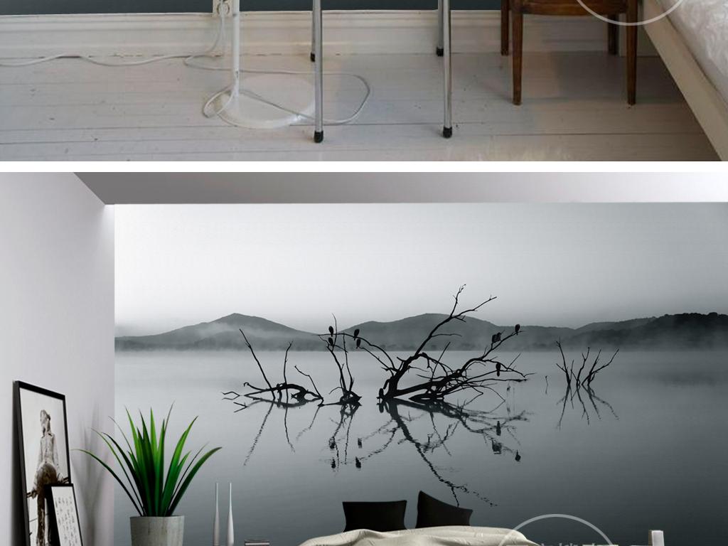 背景墙 装饰画 电视背景墙 现代简约电视背景墙 > 黑白风景意境文艺