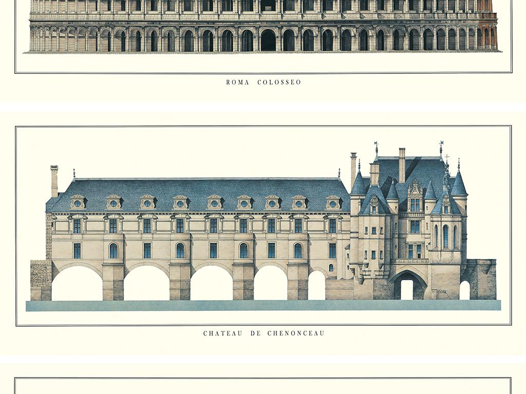 手绘建筑设计图房子欧式美式简约欧式建筑挂画客厅欧式复古客厅挂画画