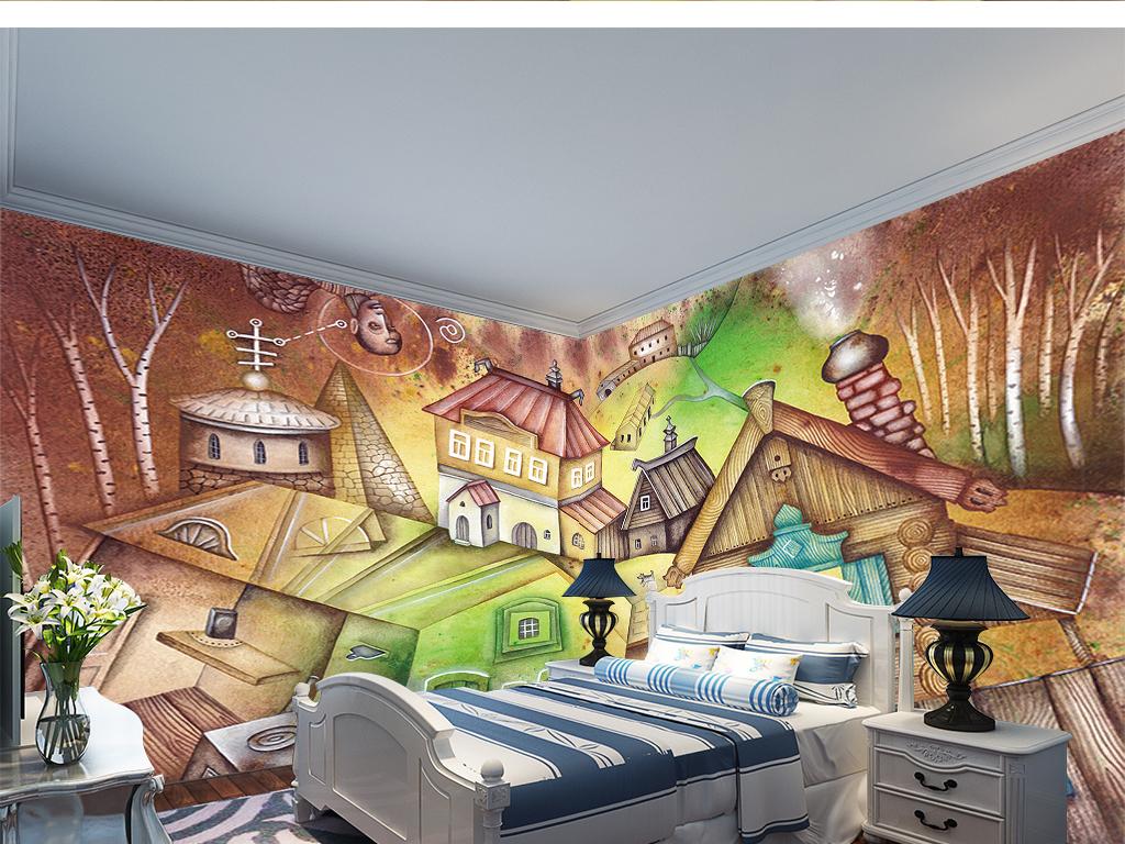 欧式复古手绘奇幻梦境卡通房子儿童房背景墙