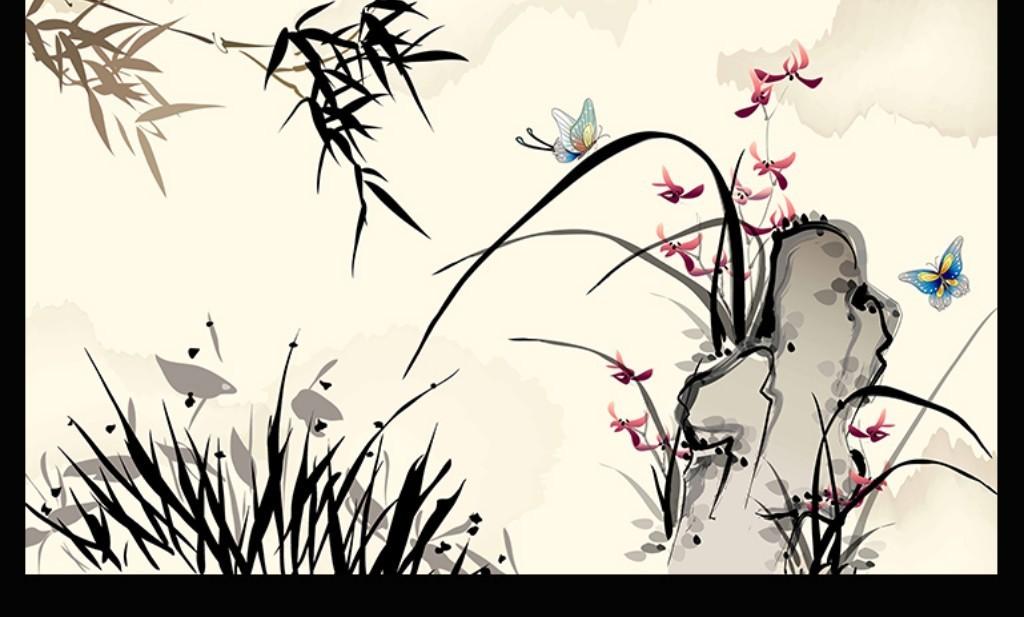 简约竹子蝴蝶山水电视背景墙效果图 14995823 中式电视背景墙效果图
