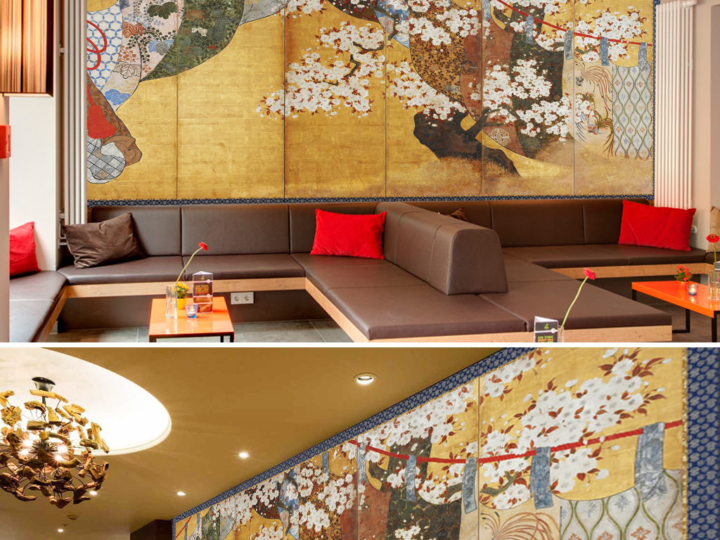 日式风格浮世绘樱花手绘六条屏风壁画油画