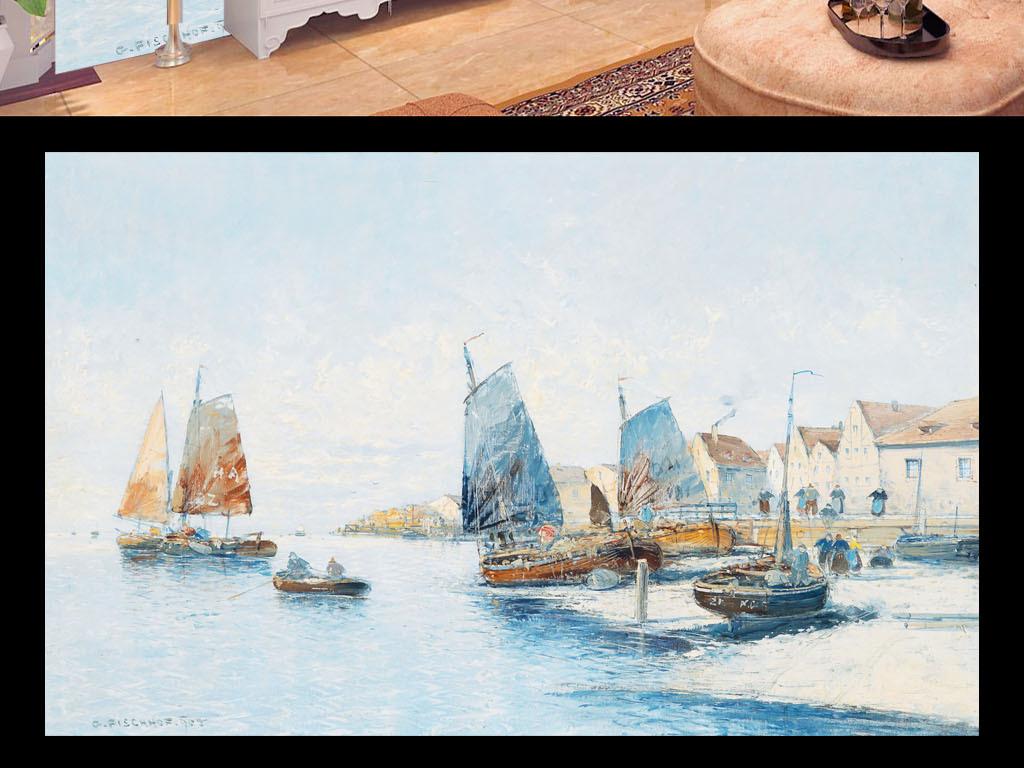 欧式手绘油画水港码头帆船油画