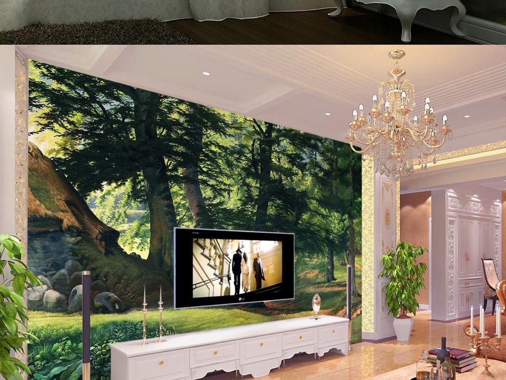 背景墙|装饰画 电视背景墙 其他 > 欧式手绘田园风光树林风景油画壁画