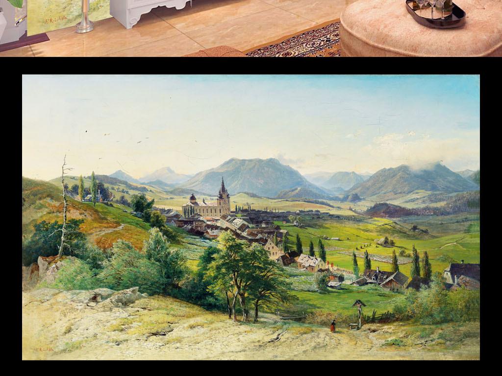 欧式手绘高清田园风景城镇建筑油画