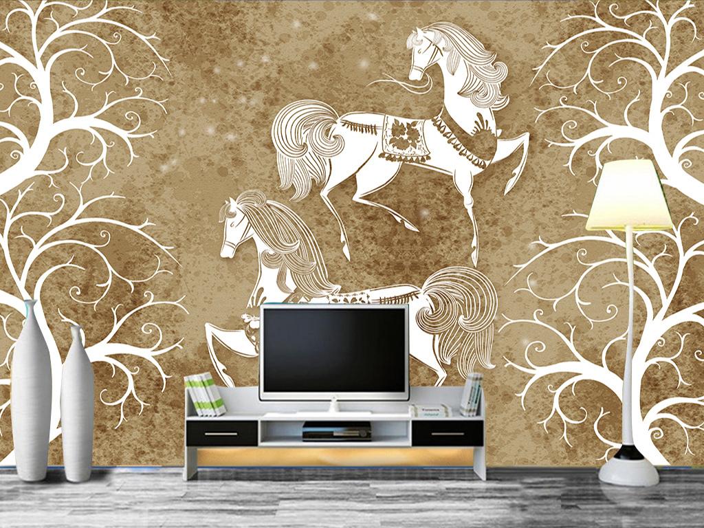 创意北欧风格马现代背景墙图片