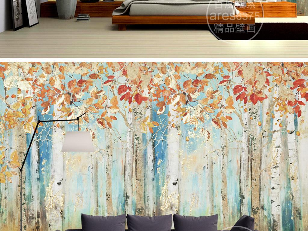 现代手绘枫树林油画壁画文艺清新背景墙
