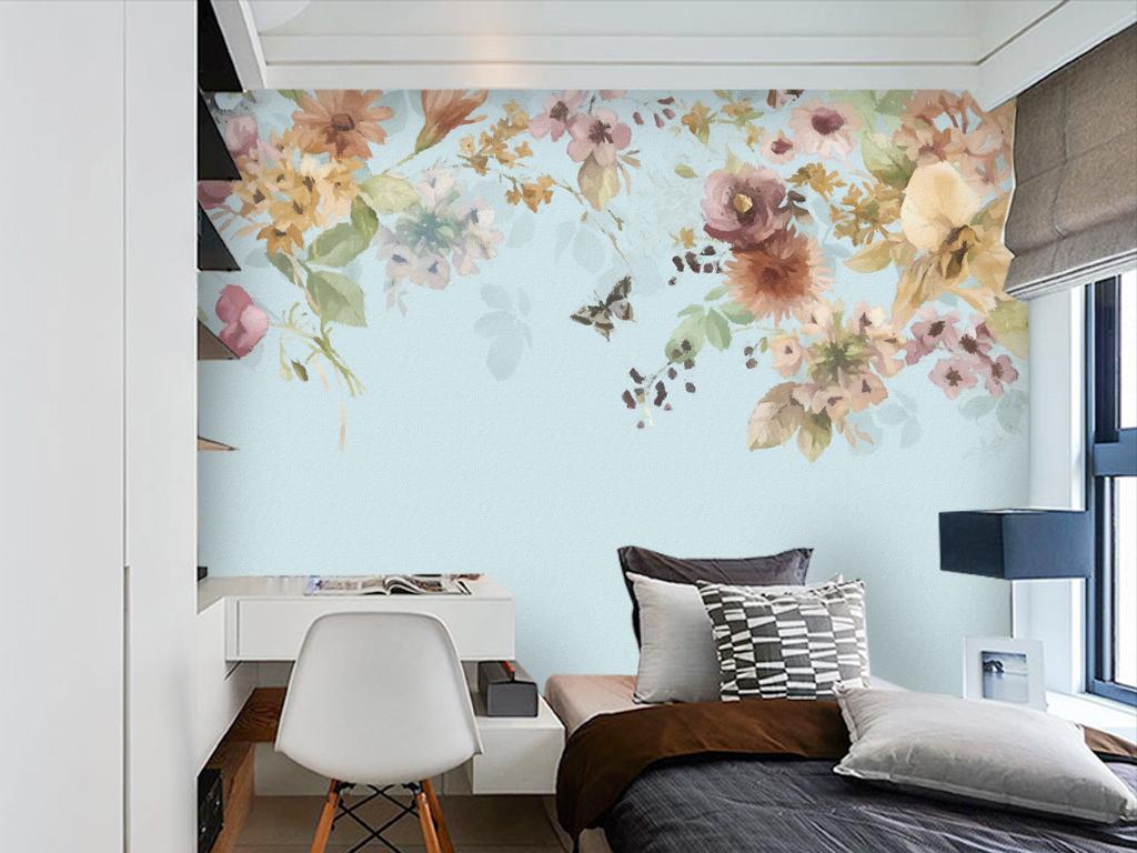 美式花朵小碎花玫瑰手绘电视背景墙