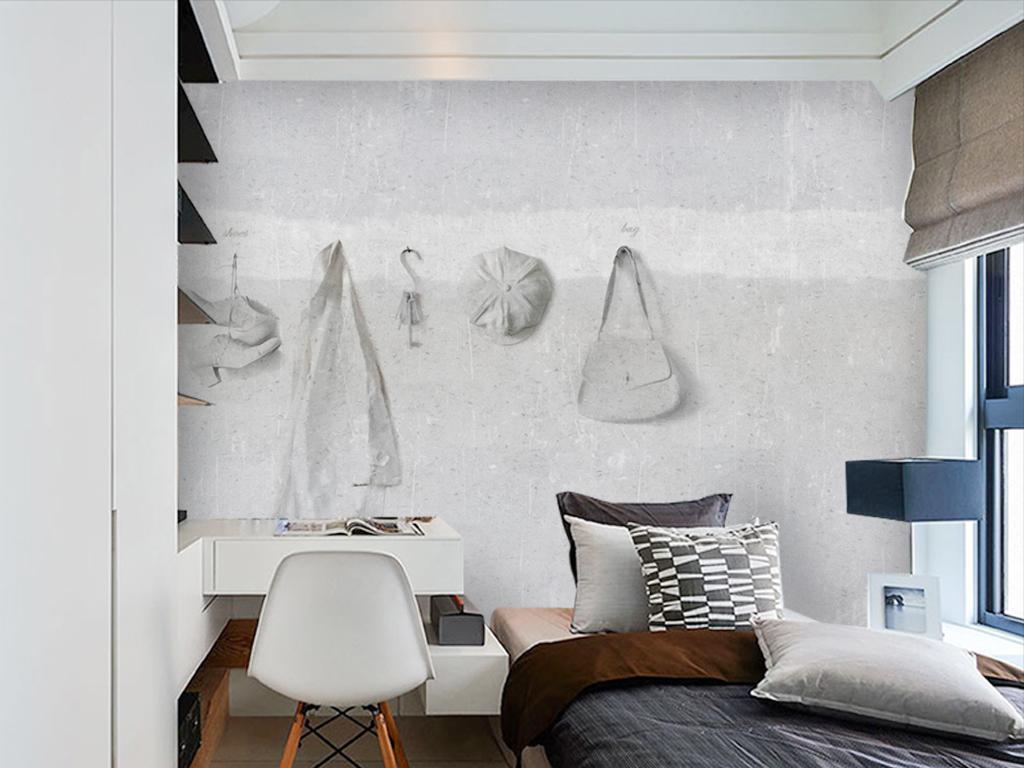 美式衣服包包手绘衣架背景墙