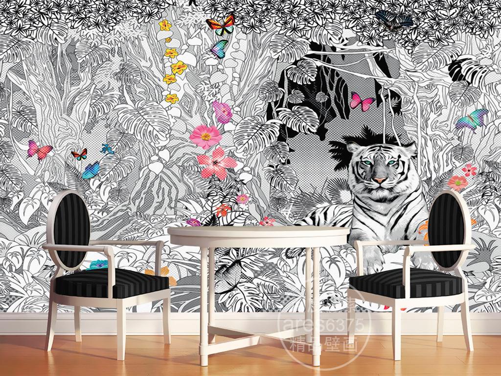 欧式雨林复古手绘花纹蝴蝶白虎复古文艺壁画