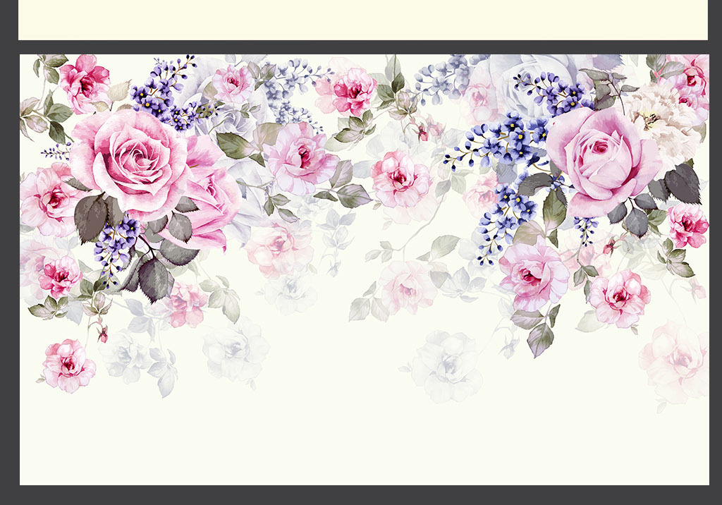 手绘水彩玫瑰蔷薇唯美电视背景壁画